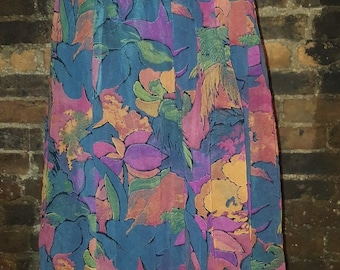 Ladies Size UK 14 16 1970's Vintage Retro Floral Red Blue Orange Midi Swing Skirt