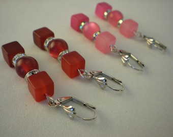 Earrings Polarisperlen and cubes with Strasssteinringen different colors 5 cm silver-plated Ohrringeinhänger BlingBling Glitter OH03
