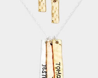 The inspired triple bar necklace ( tomorrow, today, yesterday)