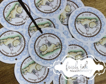 Classic Pooh Blue Polka Dot Personalized Favor Tags