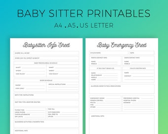 Baby Sitter Printable, Emergency Sheet, BabySitter Instructions, Babysitter Guide, While we're out, Printable Planner, A4, A5, US Letter
