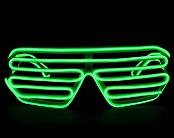 GloFX Luminescence Shutter Frames- Green w/ Green Favorite Music Clip Battery Pack LED Light Up Glasses Deep Future Effect