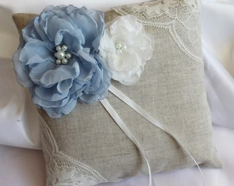 Linen and lace, ivory blue pillow