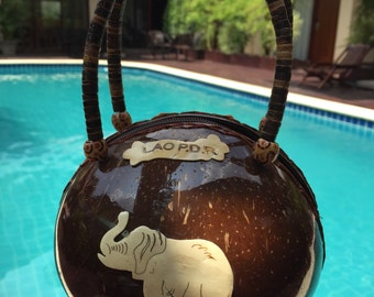 Coconut Bag vintage tropical natural material handmade boho bohemian