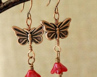 Butterfly earrings, Red butterfly earrings, antique copper, Boho style, dangly earrings, nature inspired, Bohemian style earrings