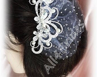 Crystal butterfly hair comb, wedding bridal hair comb, white tulle.
