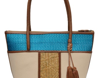 "Arbol de Viento ""Maria"" Rebozo Hand Woven Palm & Leather Tote Bag"