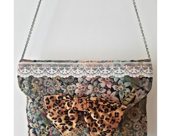 Upcycled Vintage Tapestry Leopard Bow Clutch Purse Bag