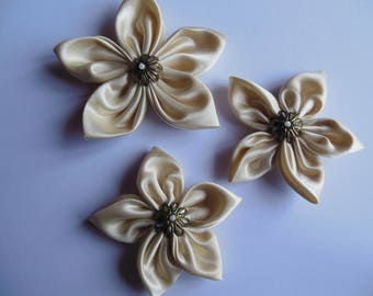 Off white and Pearl satin flowers