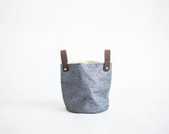 Glossy Linen Basket, Blue linen storage, Fabric container, Fabric planter