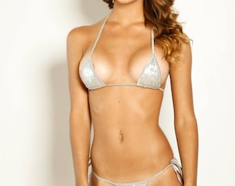 Bitsy's Bikinis Scrunch Butt Bikini Two Piece - Hollywood Silver Sequin with Silver String