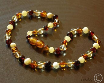 Baltic amber baby teething knotted necklace, Multi color amber, Baby necklace