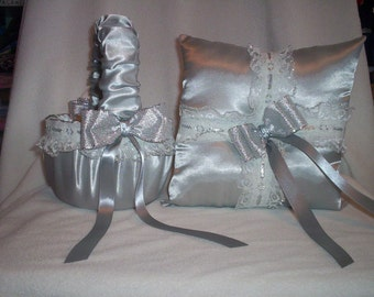 Silver Satin With Silver And White Lace Trim Flower Girl Basket And Ring Bearer Pillow Set 1
