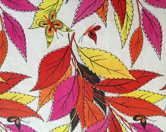 Vintage Gift Wrapping Paper - Fall Foliage and Butterflies Floral Paper - All Occasion, Birthday, Wedding, Shower - 1 Unused Fulll Sheet