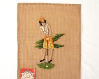 Vintage Woman Golfer Unfinished Needlepoint Canvas