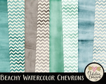 Watercolor Digital Paper Pack - Chevron Beachy Watercolor Digital Scrapbook Paper - Beach Chervron Themed Textures, Watercolor Paper Pack