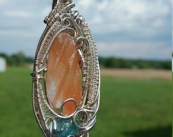 Tangerine Dream: Neon Blue Apatite and Tangerine Quartz Unique Sterling Silver Wire Wrap Pendant