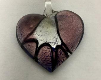Glass Heart, Glass Heart Pendant, Glass Heart Necklace, Heart Necklace, Lampwork Beads, Heart Pendant, Lampworked Glass Pendant, Lampworked