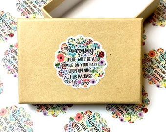Warning Floral Sticker, Packaging Floral Sticker, Scallop Floral Sticker, Round Scalloped Floral Sticker, Warning Label, QTY 6-240