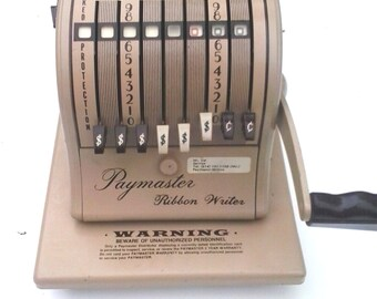 Vintage Paymaster Series 8000 Check Writer Key included/ Retro 1960's Office Equipment From Qubec Canada