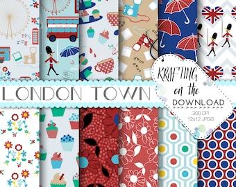 London Digital Paper Pack Travel British Flag UK Big Ben Instant Download Double Decker Bus Scrapbooking Papers Tea Red Blue Crafting