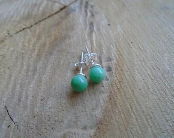 Chrysoprase on 925 Sterling Silver earrings / / chips