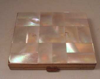 Vintage Mother of Pearl Checkerboard Pattern Compact