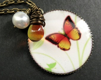 Fiery Butterfly Necklace. Butterfly Pendant with Wire Wrapped Teardrop and Fresh Water Pearl. Handmade Jewelry.