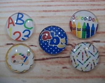 Best Teacher Fridge Magnets, Glass Kitchen Magnets, Set of 5, Kitchen Decor, Hostess Gift, Housewarming Gift, Office Decor, Locker Magnet