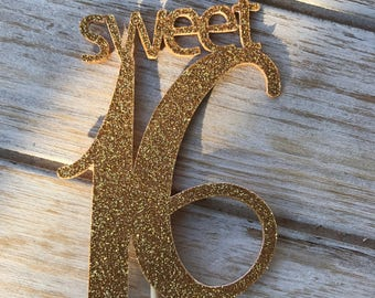Sweet 16 custom cupcake toppers 12 count