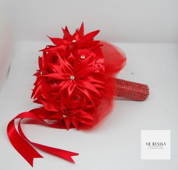 Wedding red rose bouquet of roses for handmade brides