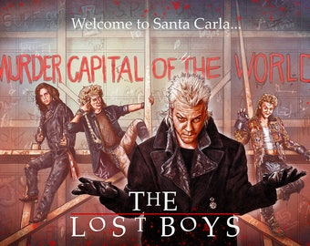 """The Lost Boys 30th tribute illustration A3 print """"Welcome to Santa Carla"""" RED"""