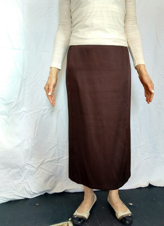 Minimalist Vintage Jil Sander Copper Brown Maxi Skirt Made in Italy