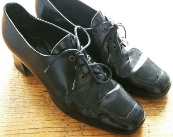 "Black Leather Vintage Lace Up Heeled 5.5 5 1/2 Women's Oxfords Brogues 1.25"" Heel Lace Tie Up Shoes Chunky Heel Real Leather"