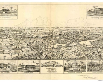 Longwood Florida - 1885 G.A. Miller- Birds Eye View Reprint