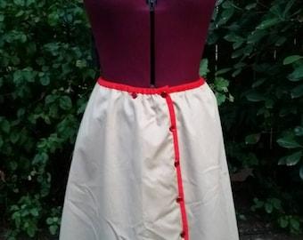 Strawberry Skirt Vintage 1970s Strawberry Skirt 70s Skirt Full Skirt High Waist Skirt Aline Skirt Tan Skirt Cotton Poplin Skirt Strawberries