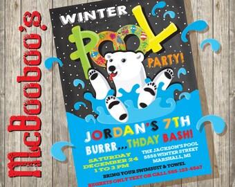Polar Bear Plunge Winter Snow Birthday Pool Party Invitation