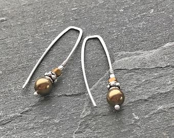 Pearl Threader Earrings, Long Pearl Earrings, Silver Threader Earrings, Sterling Silver and Gold Pearl Earrings, Modern Threader Earrings