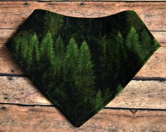 Pine tree print cotton, Water resistant bandanna bib, Bibdana, Bandana bib, Baby shower, Baby gift, girl, boy, outdoor