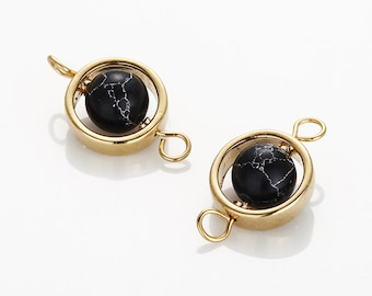 Black Marble Circle ball Connector, marble Charm Polished Gold -Plated - 2 Pieces [G0187-PGBM]