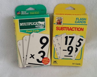 Vintage Flash Cards Step Ahead Lot of 2 Multiplication and Subtraction