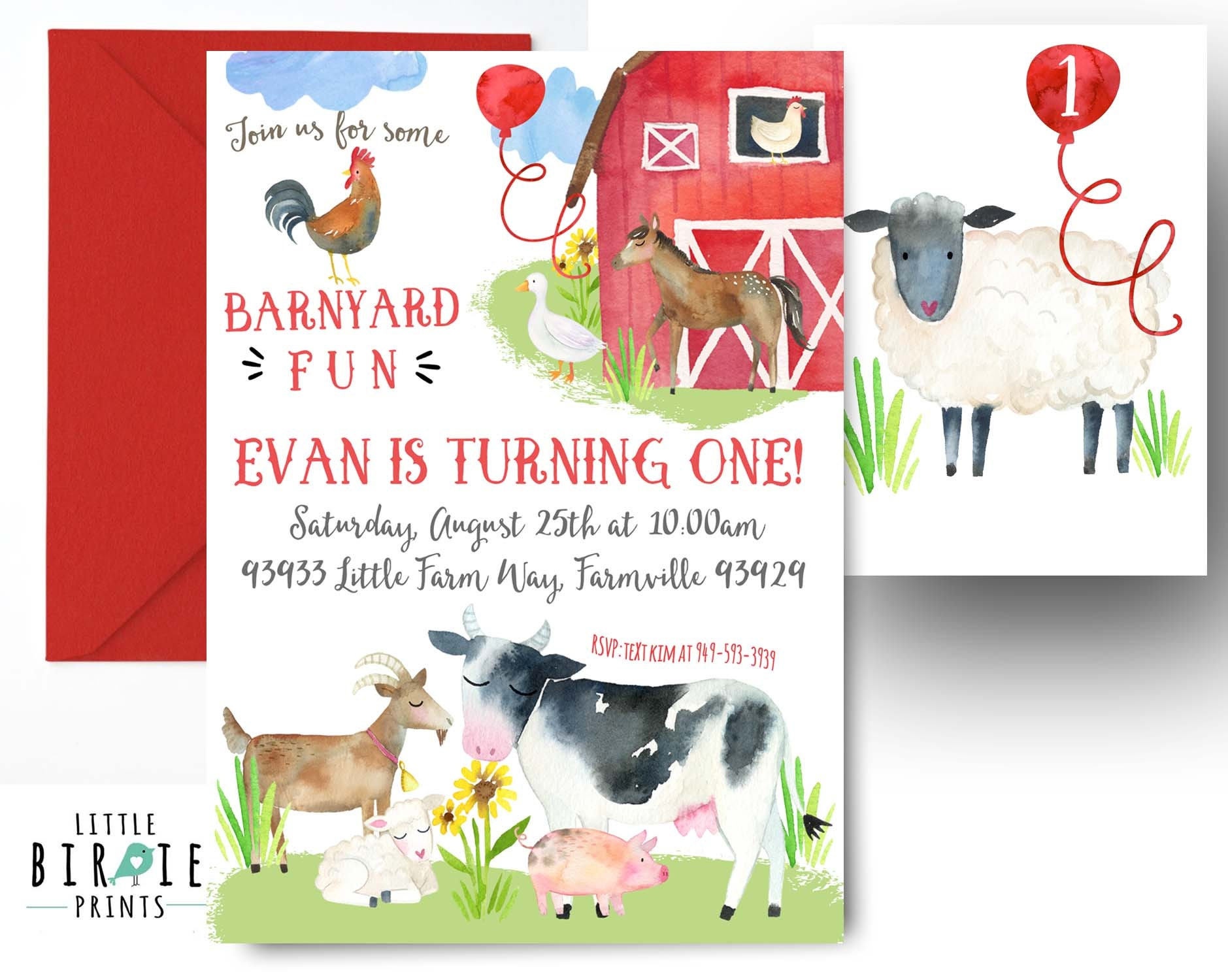 FARM INVITATION Farm Birthday Invitation Farm Animals