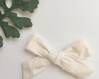 Cream Swiss Dot Hand-Tied Knot Baby/Toddler Girl Bow