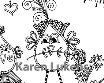 5 pages, Romeo Coloring Pack #1 , 5 Adult Coloring Book Pages, Printable Instant Download