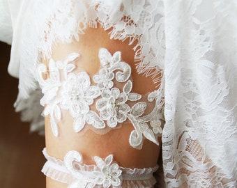 Bridal Garter Wedding Garter Lace Garter Set - Ivory Garter Belt Bohemian Garter Rustic Garter Set - Floral Garter Prom Garter