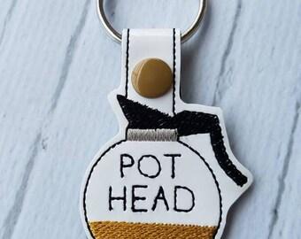 Pot Head Coffee Pot Keychain