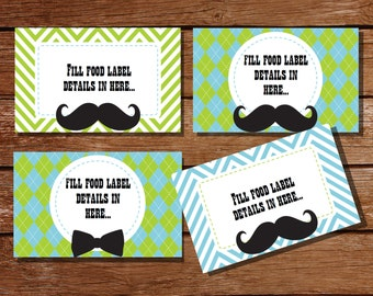Mustache Tent Cards, Food Labels, Buffet Cards, Food Tags, Labels - Instantly Downloadable File
