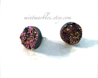 Druzy Style Stud Earrings. Pink Gold Shimmer. Silver Backings. Under 10. 5 Dollar Earrings. Gifts for Her. Simple Stud Earrings. Sparkle.