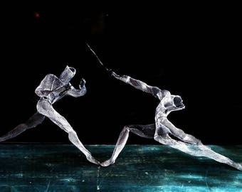 Wire Mesh boyfriend gift Metal Wall Hanging Sculpture Swordsmen Set of Two Gift Olympic Sport Fencing OOAK Abstract Contemporary Art