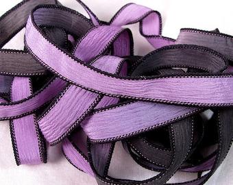 Silk Wrap Ribbon, Silk Ribbon Wrap ~ Lavender and Jet Silk Wrap Ribbon - One Ribbon